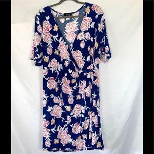 Size 3X Espresso Blue Floral Dress